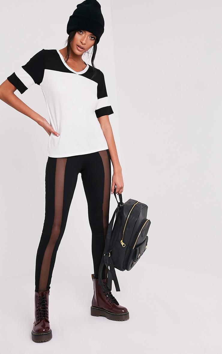 Melita Cream Colourblock V Neck Jersey T Shirt 6