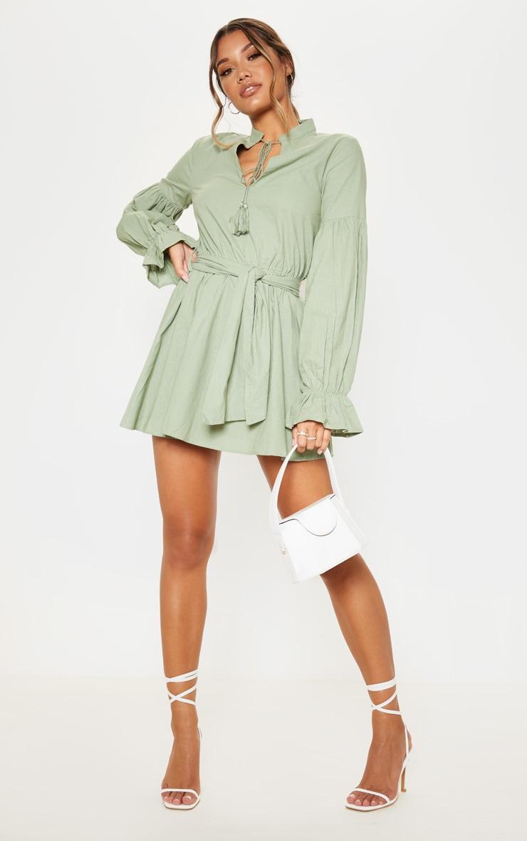 Sage Green Balloon Sleeve Tie Skater Dress 4
