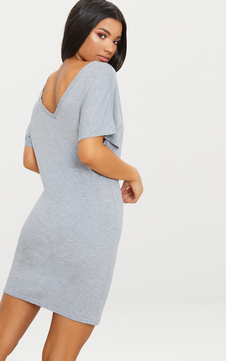 Basic Grey V Neck T Shirt Dress 2