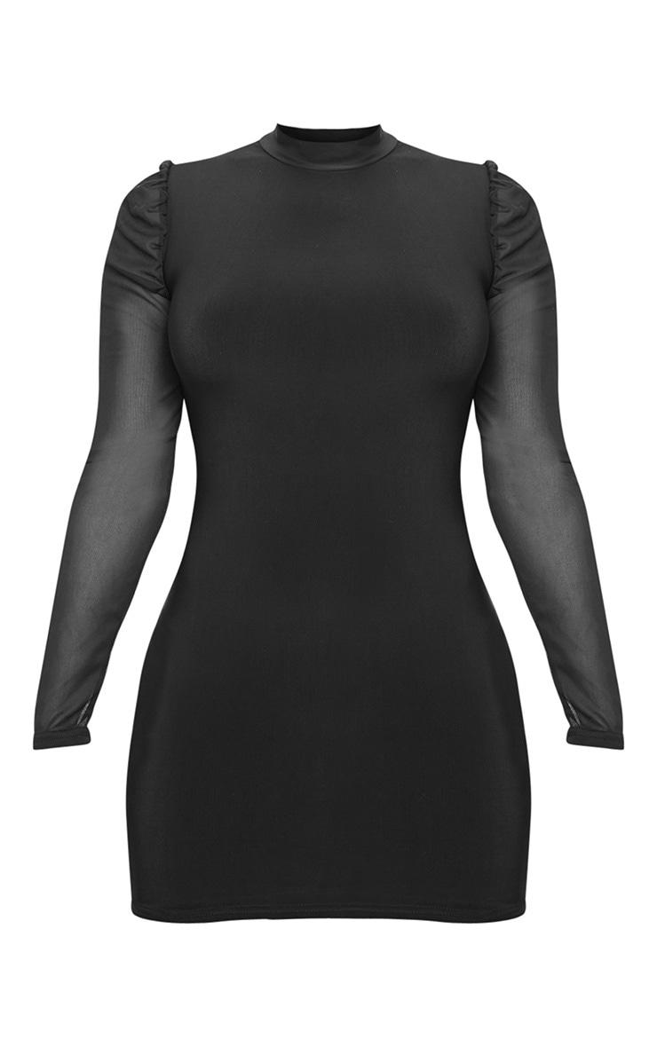 Petite Black Organza Sleeve Slinky Mini Dress 3