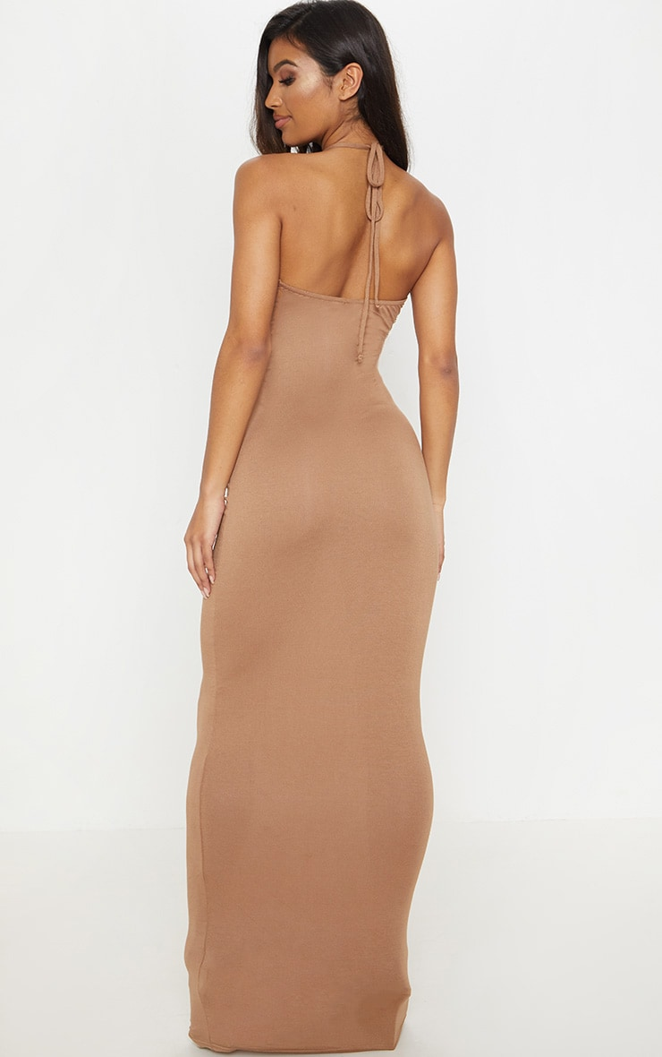 Camel Basic Halterneck Maxi Dress 2