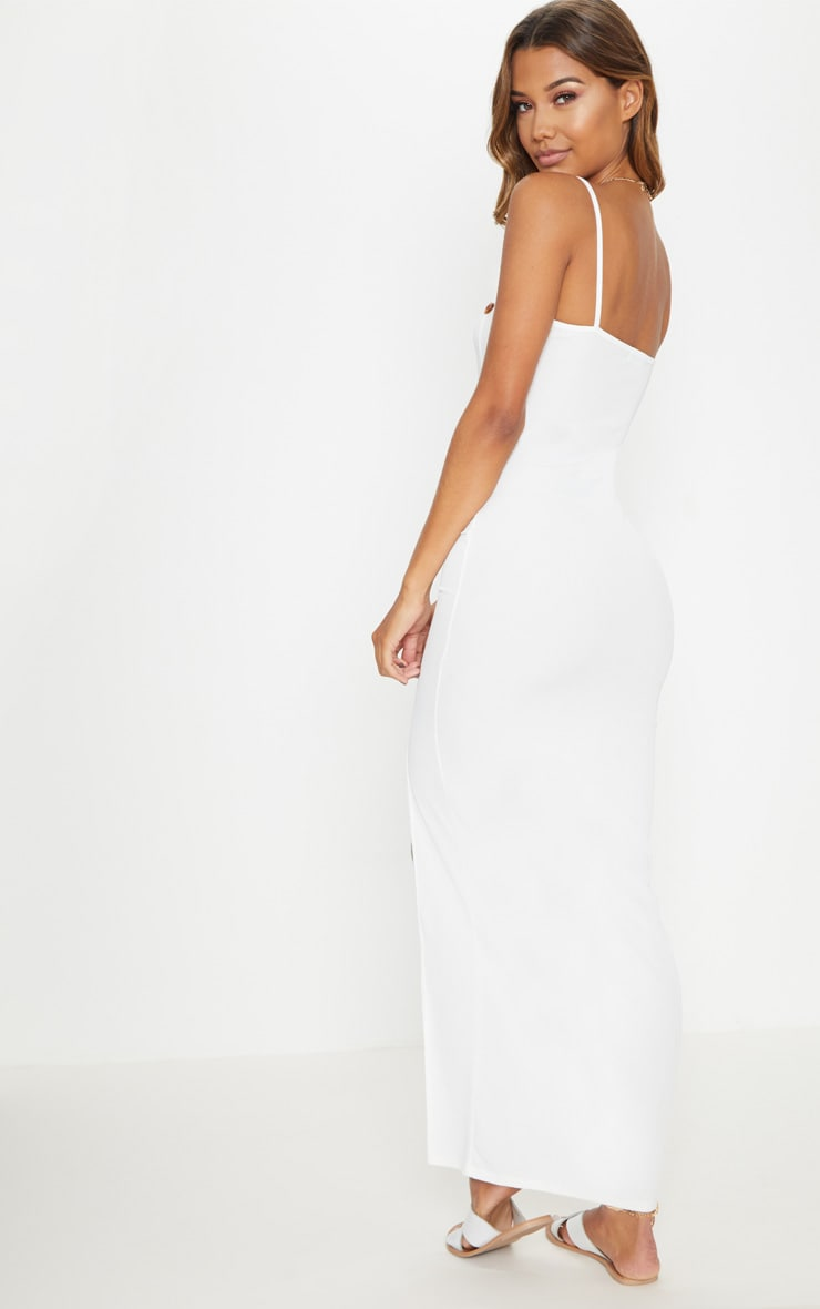 White Ribbed Tortiose Shell Button Maxi Split Front Dress 2