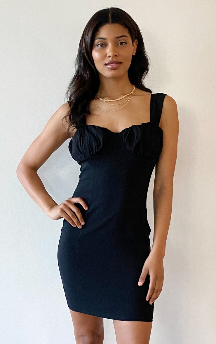 Tall Black Fitted Ruched Cup Bodycon Dress 1