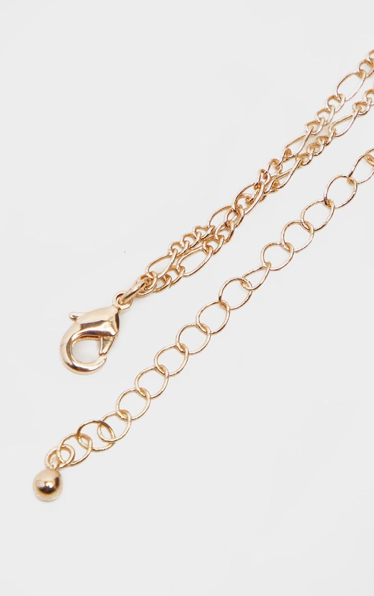 Collier doré à double chaîne, coquillage et perle 4