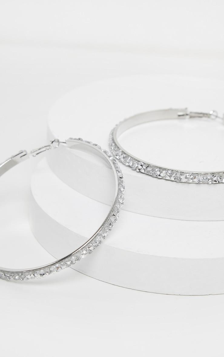 Silver Crystal Cluster Large Hoop Earrings 2