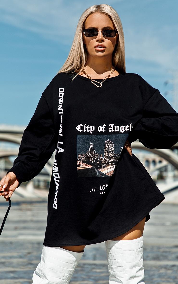 Robe sweat oversize noire à slogan Los Angeles