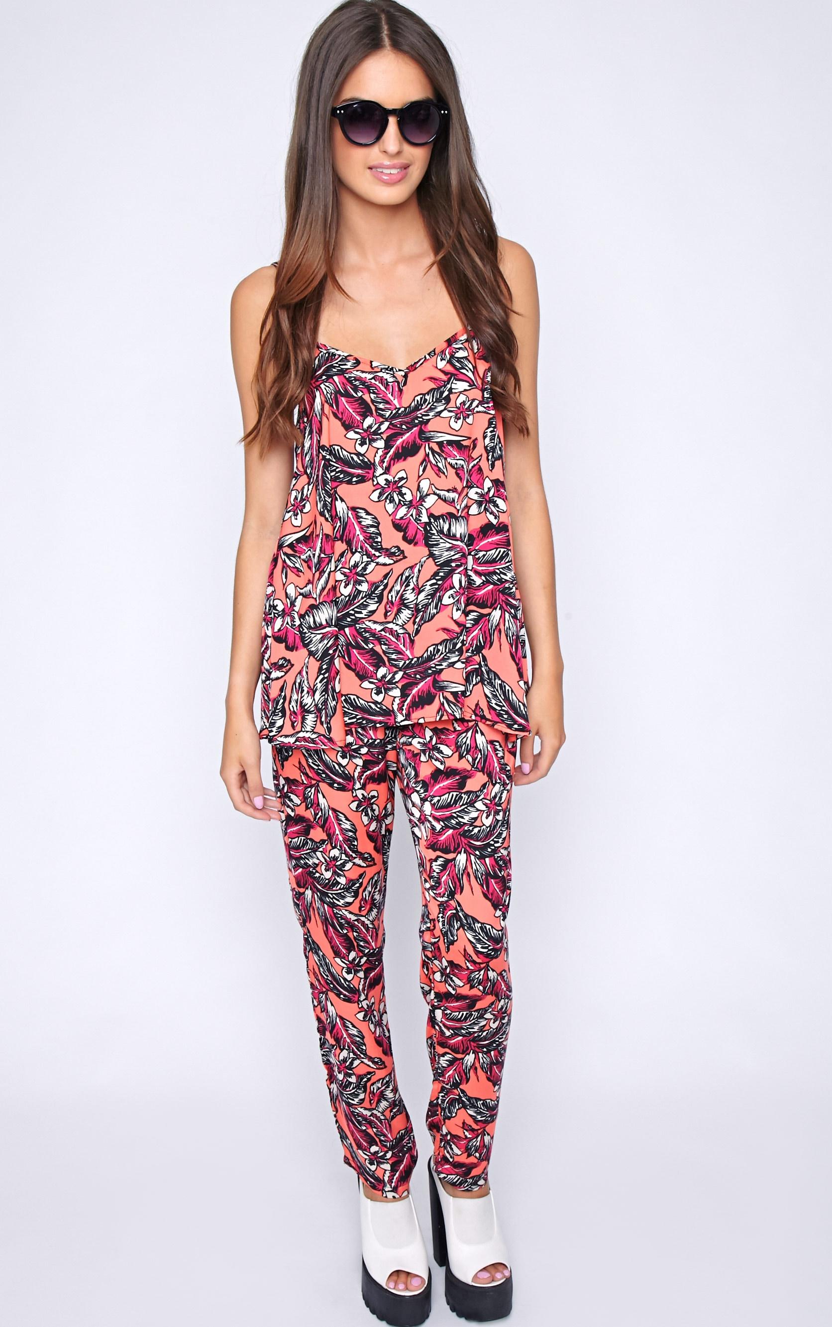 Annabelle Coral Floral Print Trouser 4