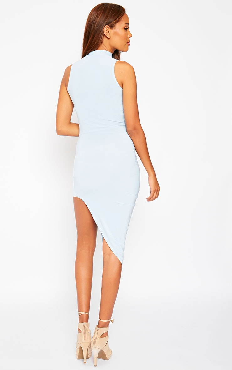 Prim Blue Slinky Drape Asymmetric Dress 6