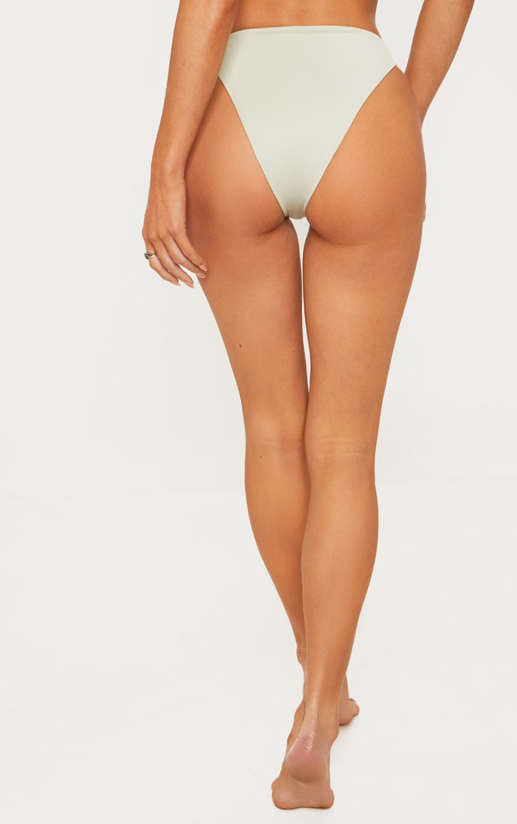 Sage Green High Leg Cheeky Bikini Bottom 5