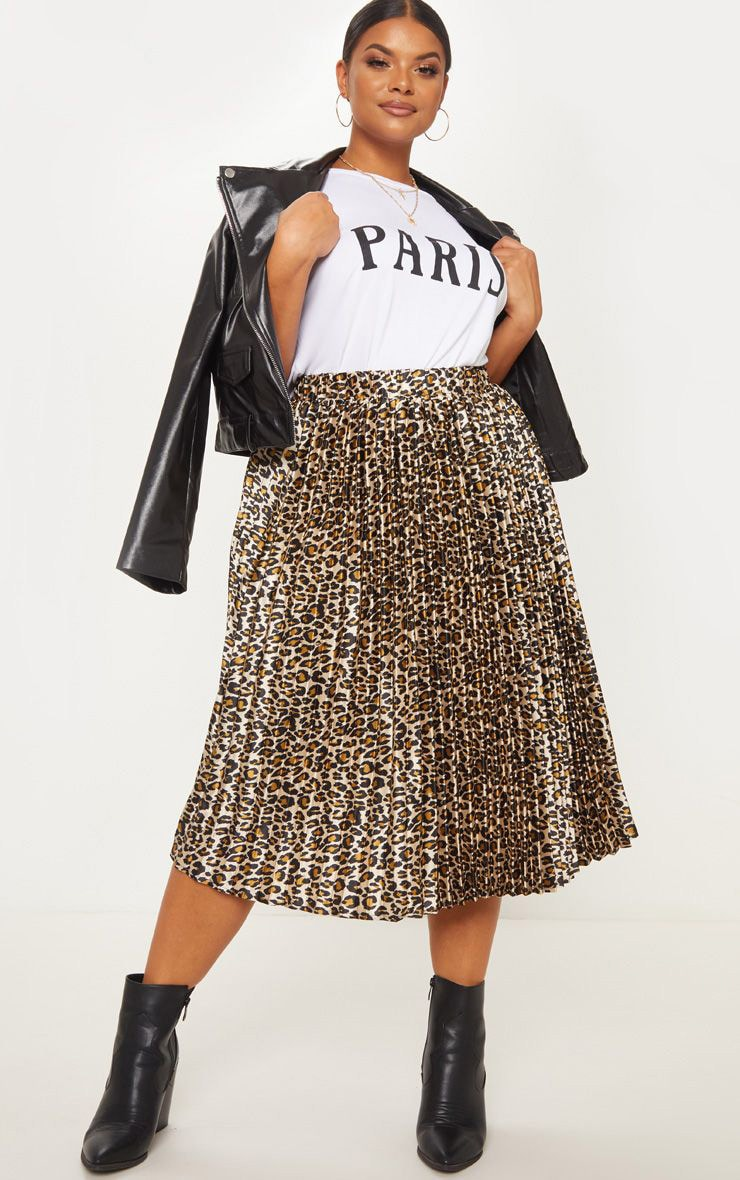 Plus Tan Leopard Pleated Midi Skirt 1
