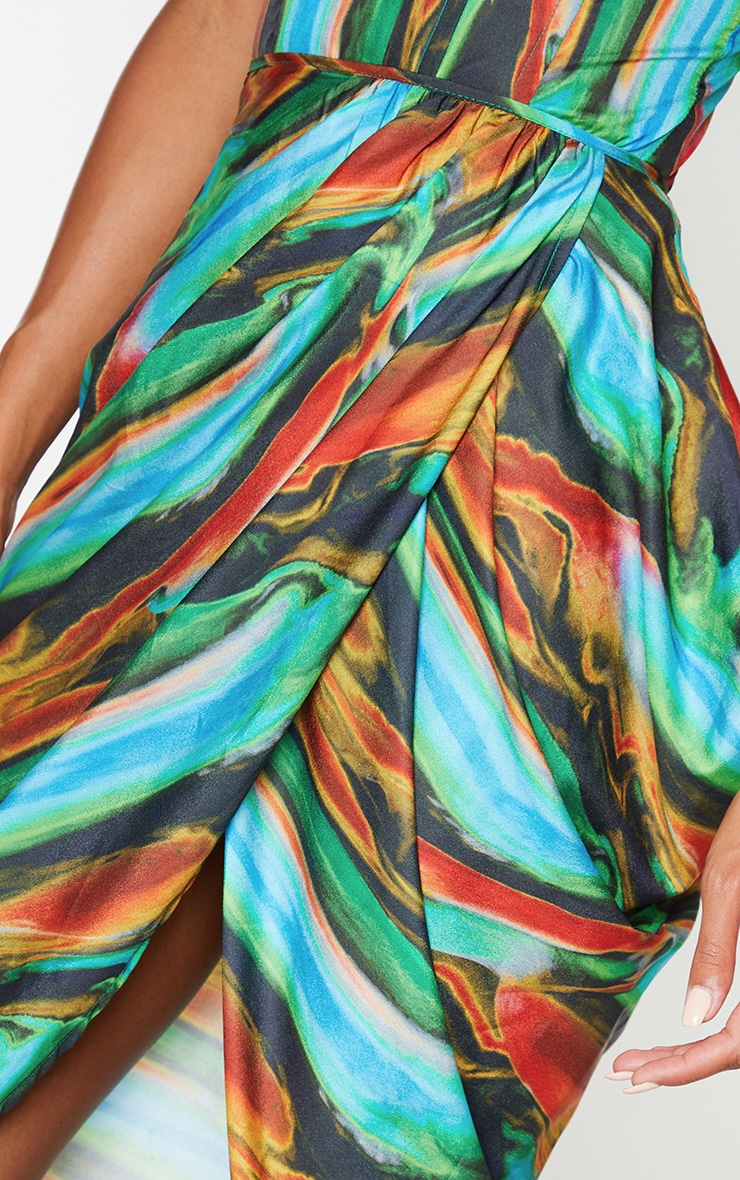 Blue Multi Abstract Print Woven Ruched Side Midi Skirt 4