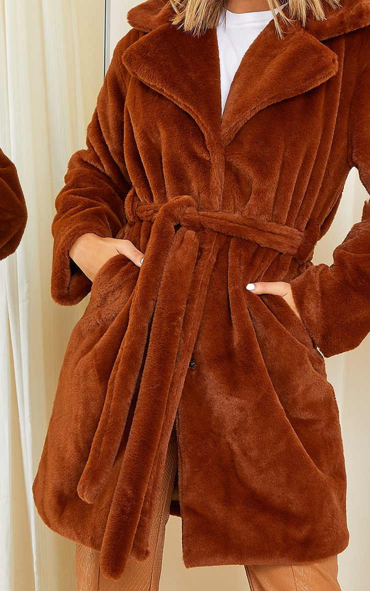 Tan Soft Faux Fur Belted Midi Coat 4