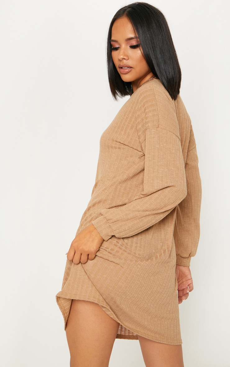 Camel Wide Ribbed Oversized Jumper Dress 2