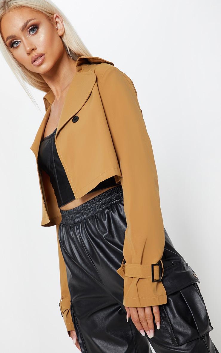 Camel Woven Button Detail Crop Jacket 5