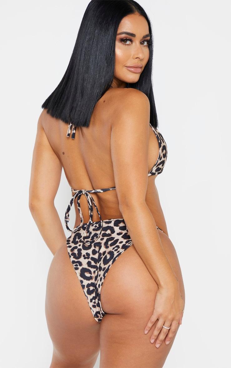 Shape Brown Leopard Print Skinny Strap Bikini Top 2
