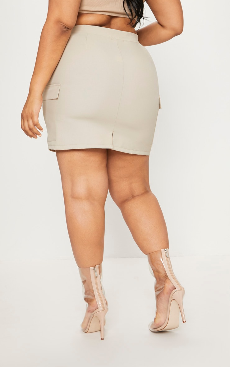 Plus Stone Utility Pocket Detail Bodycon Skirt 4