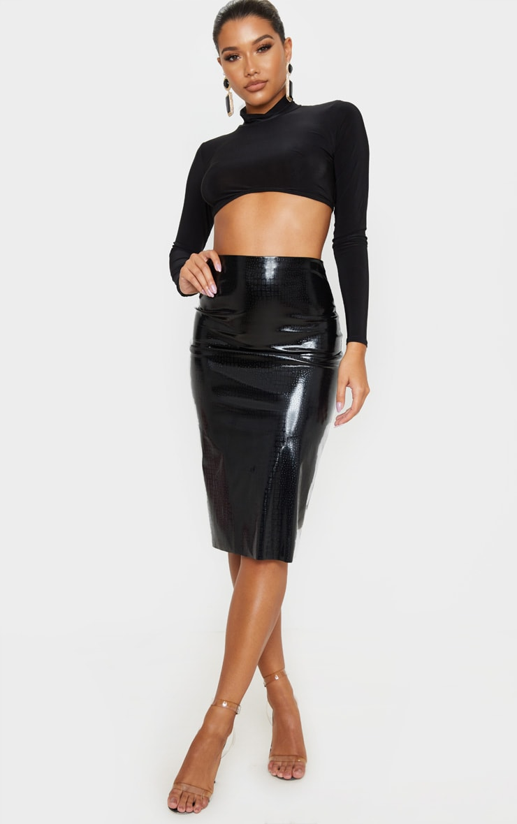 Black Croc Vinyl Midi Skirt 1