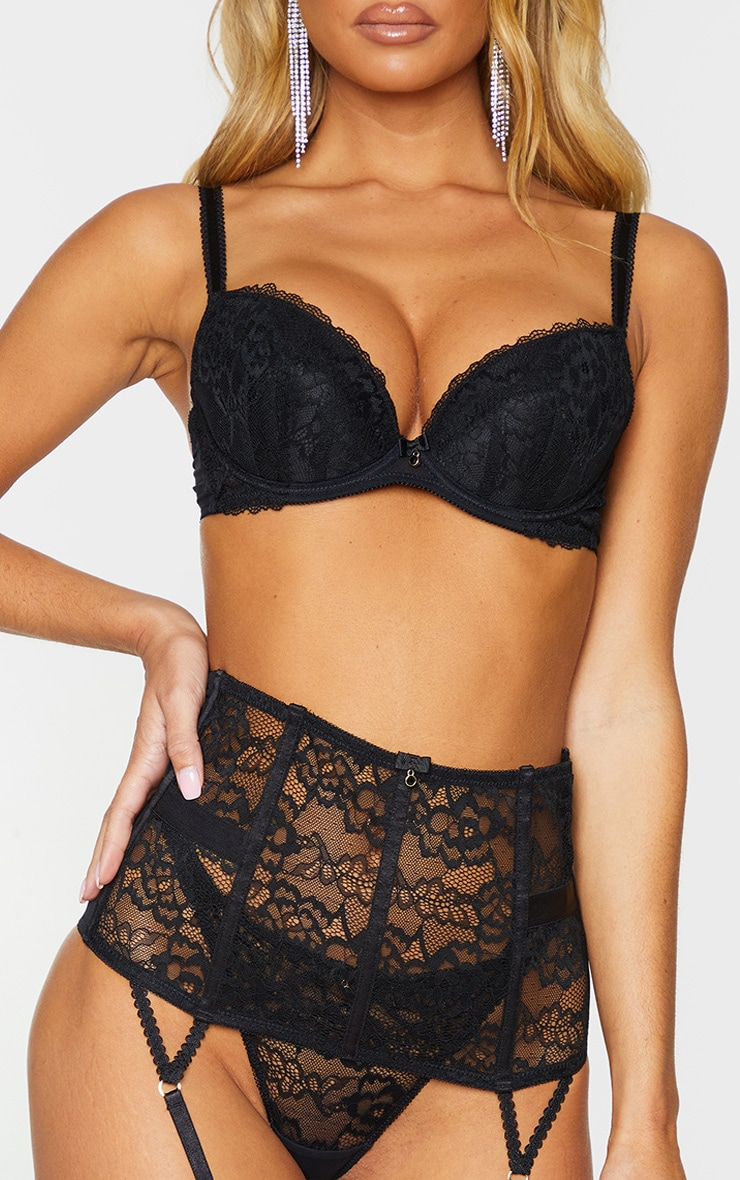 Ann Summers Forest Lace Waspie Suspender Belt Emerald  Black S 8-10 New Tags