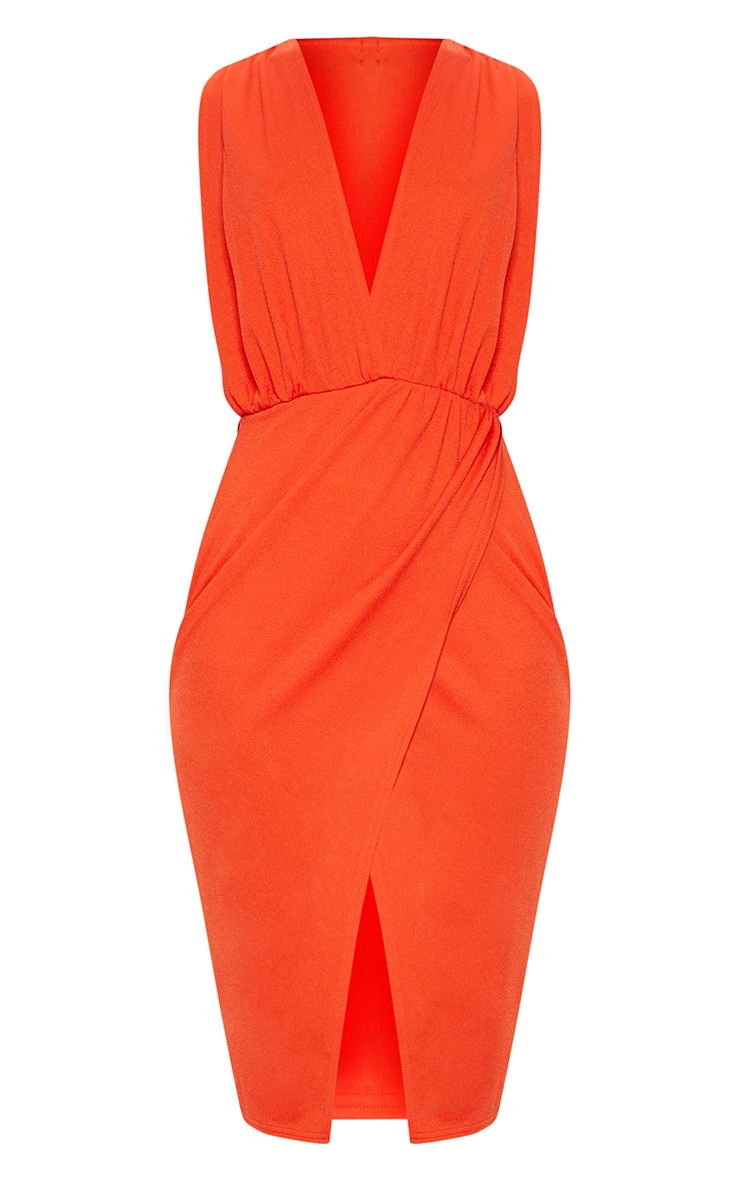 Bright Orange Ruched Shoulder Plunge Midi Dress 3