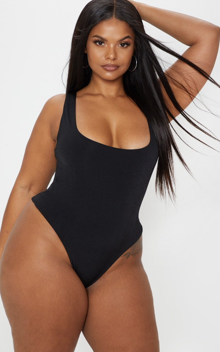 Plus Black Slinky Square Neck Thong Bodysuit 2