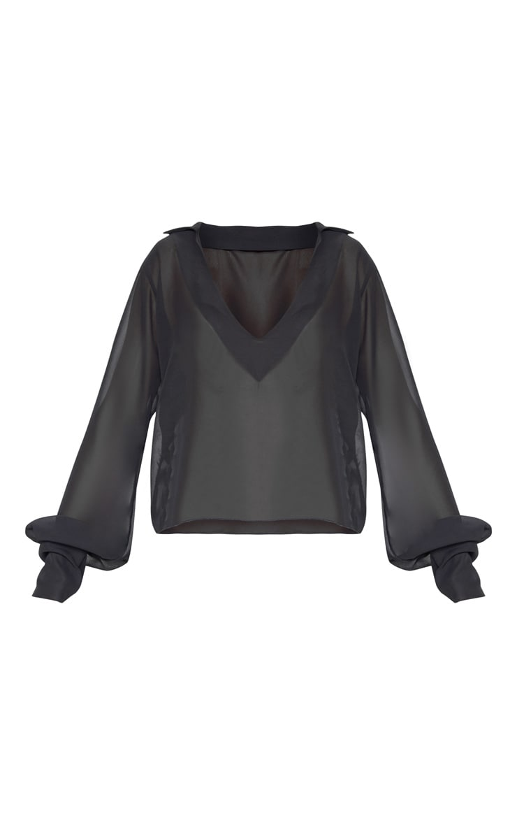 Black Sheer Bell Sleeve Blouse  3