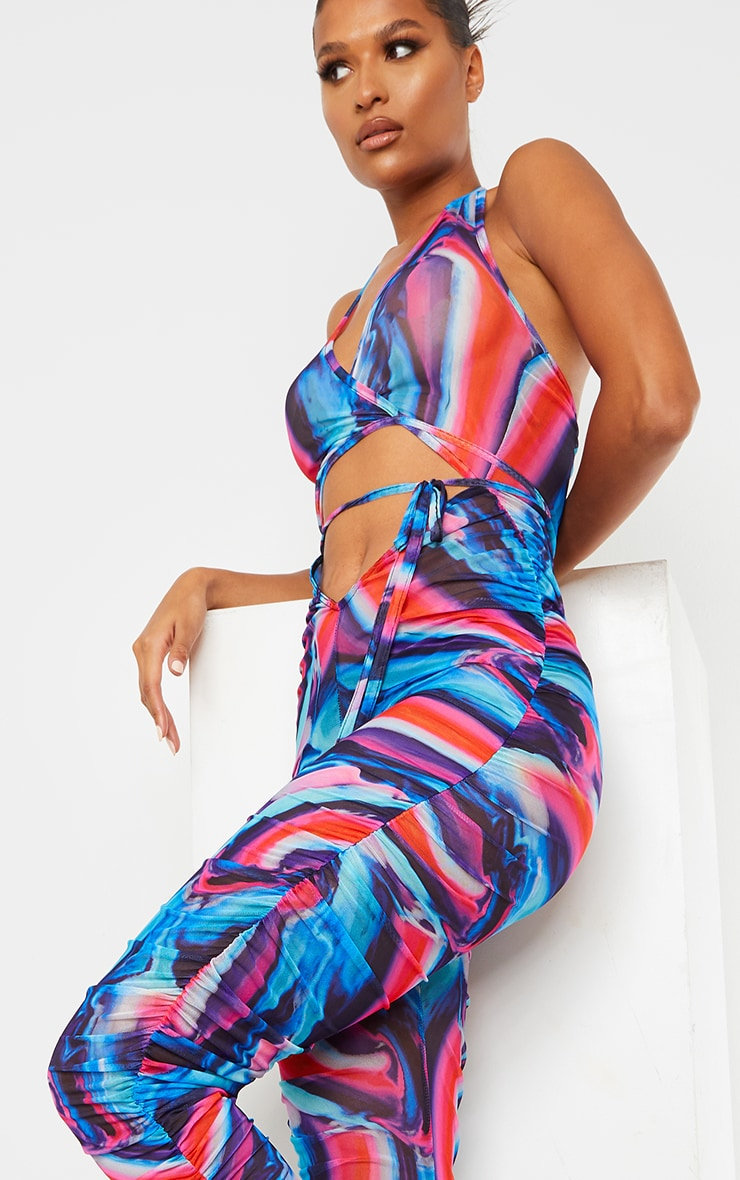 Blue Abstract Print Plunge Lace Up Mesh Jumpsuit 4