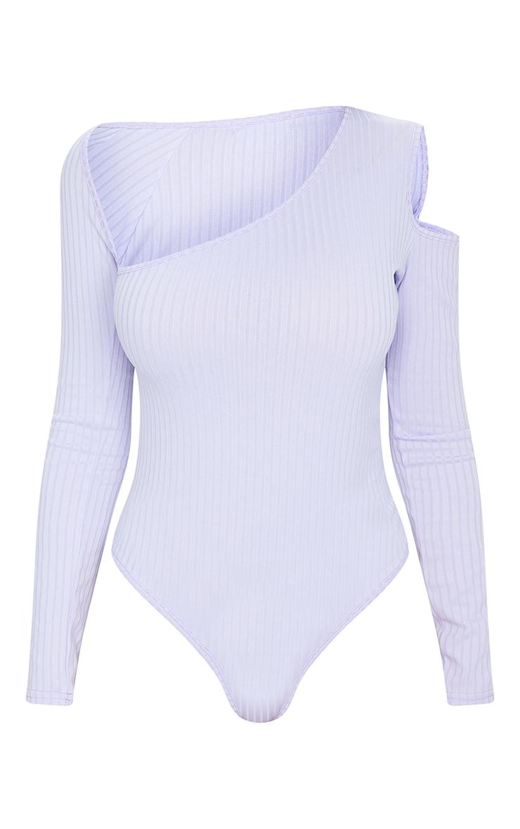 Dusty Lilac Rib Cut Out Long Sleeve Bodysuit 5