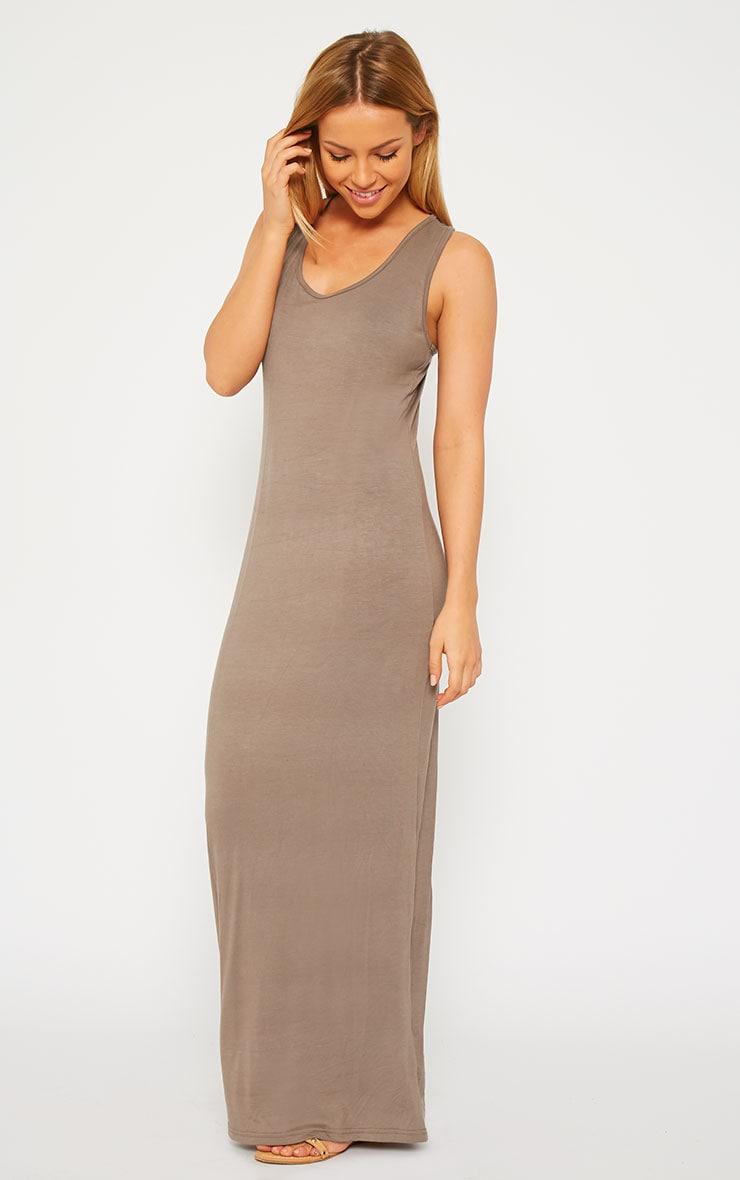 Basic Mocha Jersey Maxi Dress 3