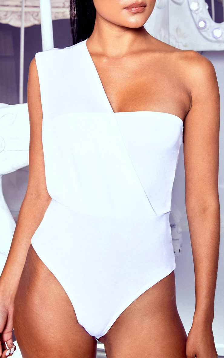 White One Shoulder Bodysuit 5