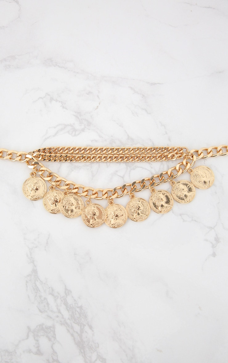 Gold Chain Layered Coin Necklace 2