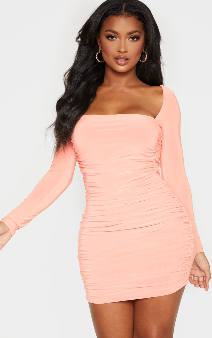 Shape Peach Slinky Square Neck Ruched Front Bodycon Dress 1