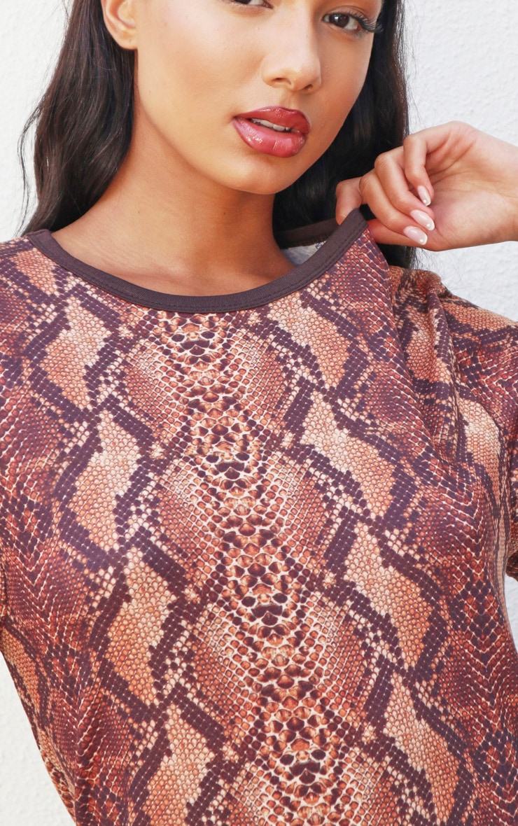 Brown Snake Print T-Shirt Dress 4