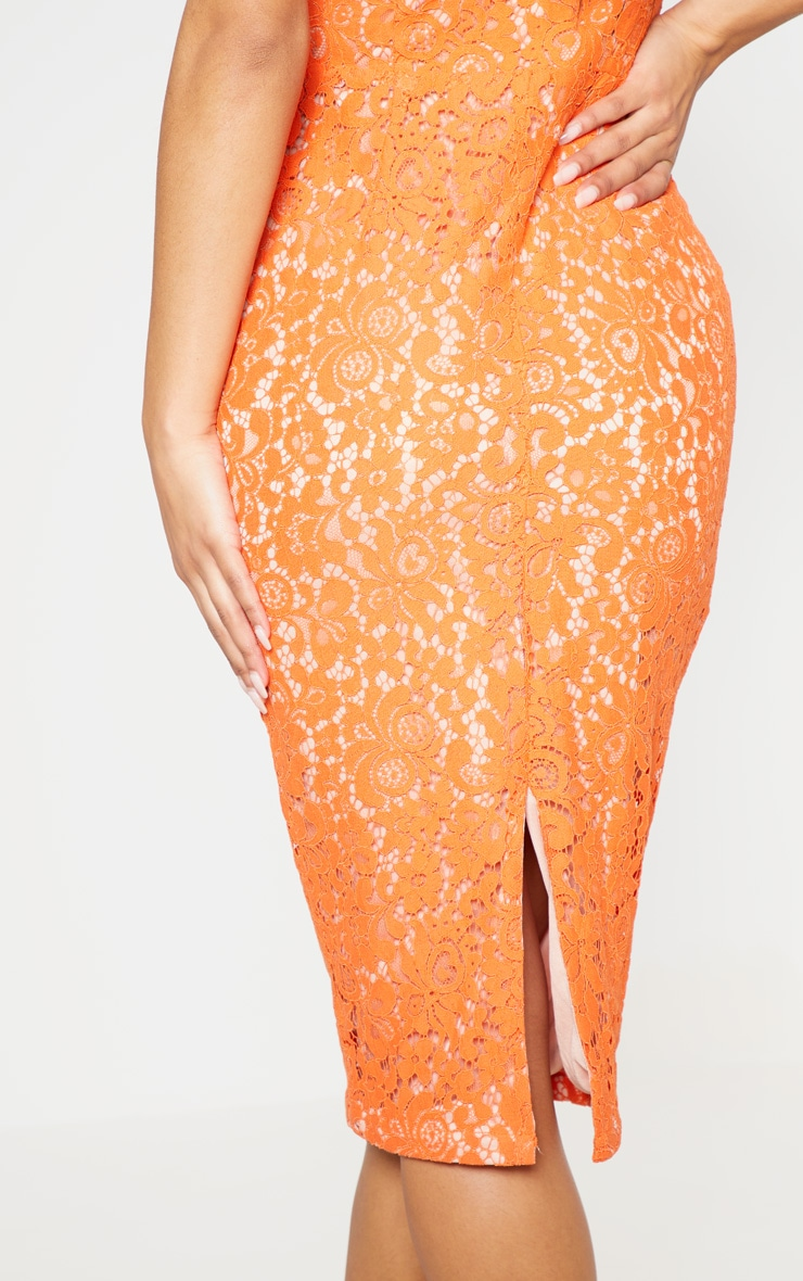 Orange Square Neck Lace Midi Dress 6