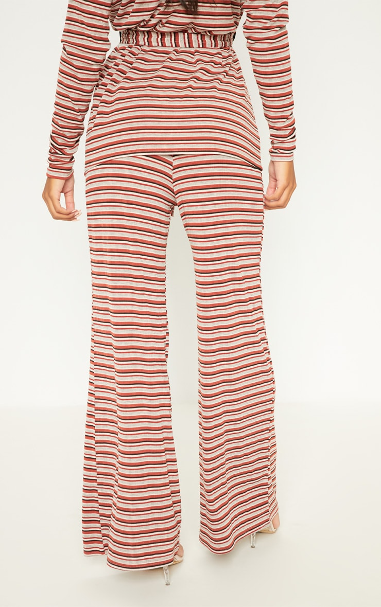 Rust Ribbed Knitted Wide Leg Trouser  4