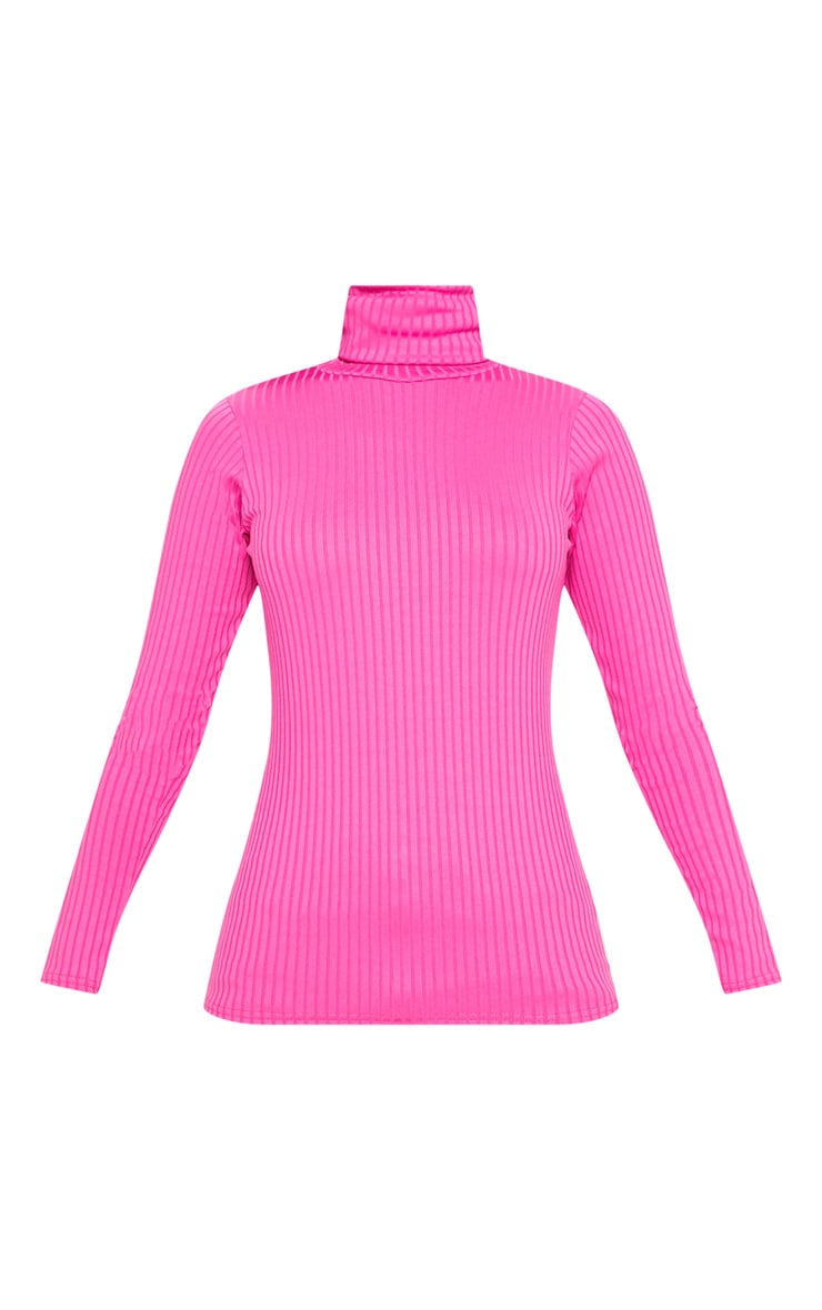 Neon Pink Rib Roll Neck Long Sleeve Top 3