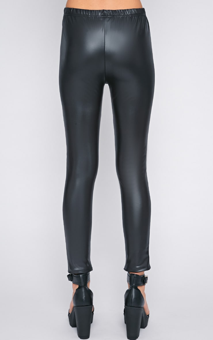 Grace Black Leather Leggings With Lace Trim 2
