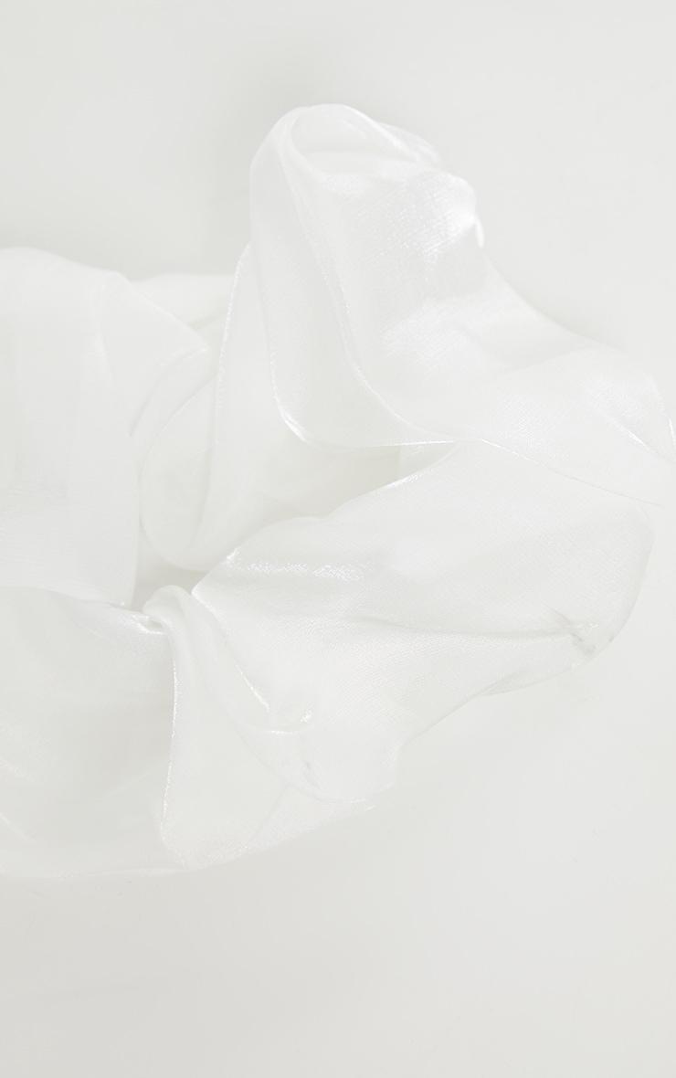 White Oversized Organza Scrunchie 3