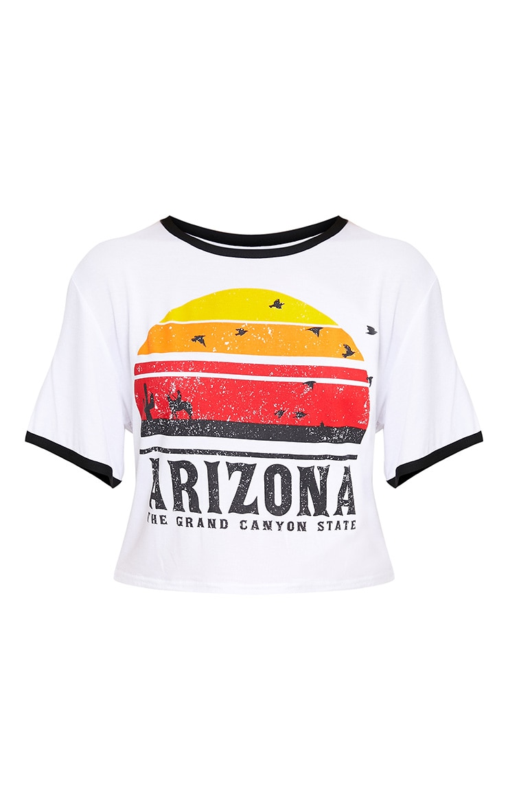 Arizona Printed White Contrast Jersey Crop top 3