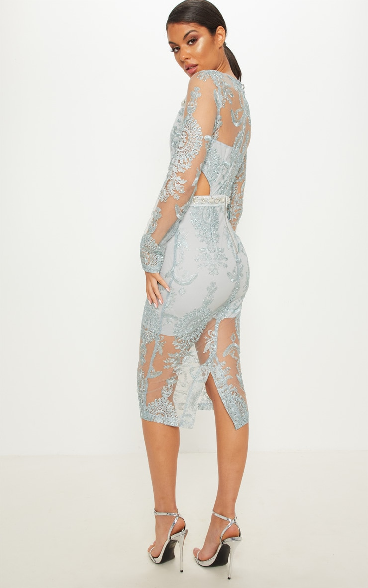 Grey Embroidered Lace Embellishment Detail Cut Out Midi Dress 2