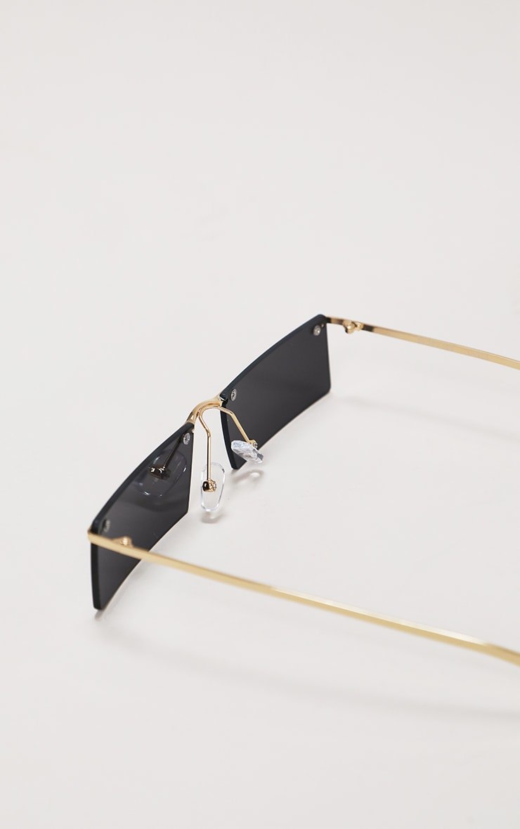 Black Gold Trim Square Lens Sunglasses 4