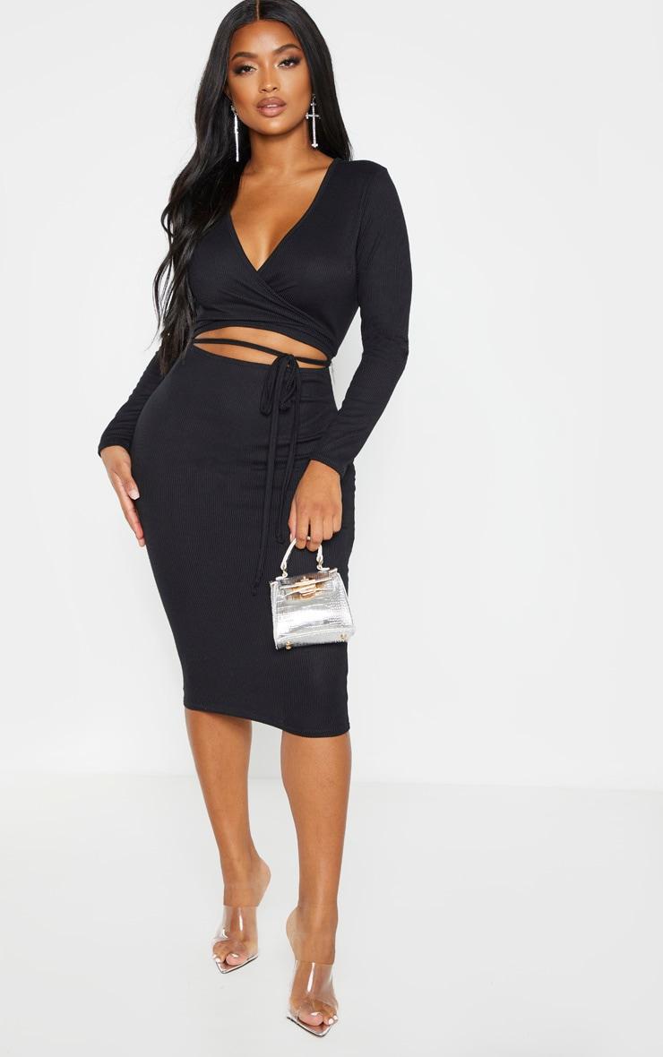Shape Black Ribbed Wrap Waist Midi Dress 1