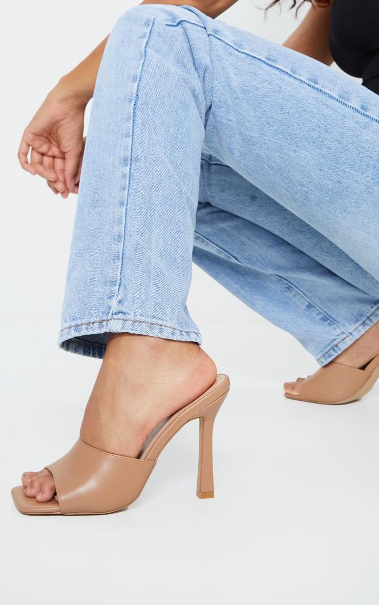Camel Square Toe Mule High Heels 1
