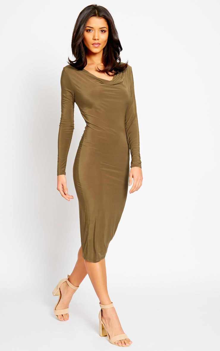Ziva Khaki Slinky Cowl Neck Midi Dress 1