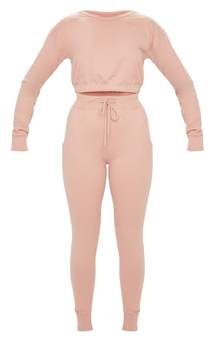 Pink Long Sleeve Elastic Hem Cropped Sweat & Jogger Set 5