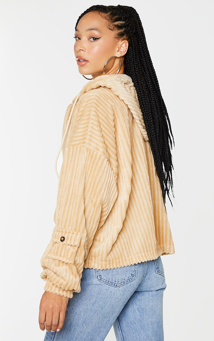 Stone Cord Oversized Pocket Zip Up Hoodie 2