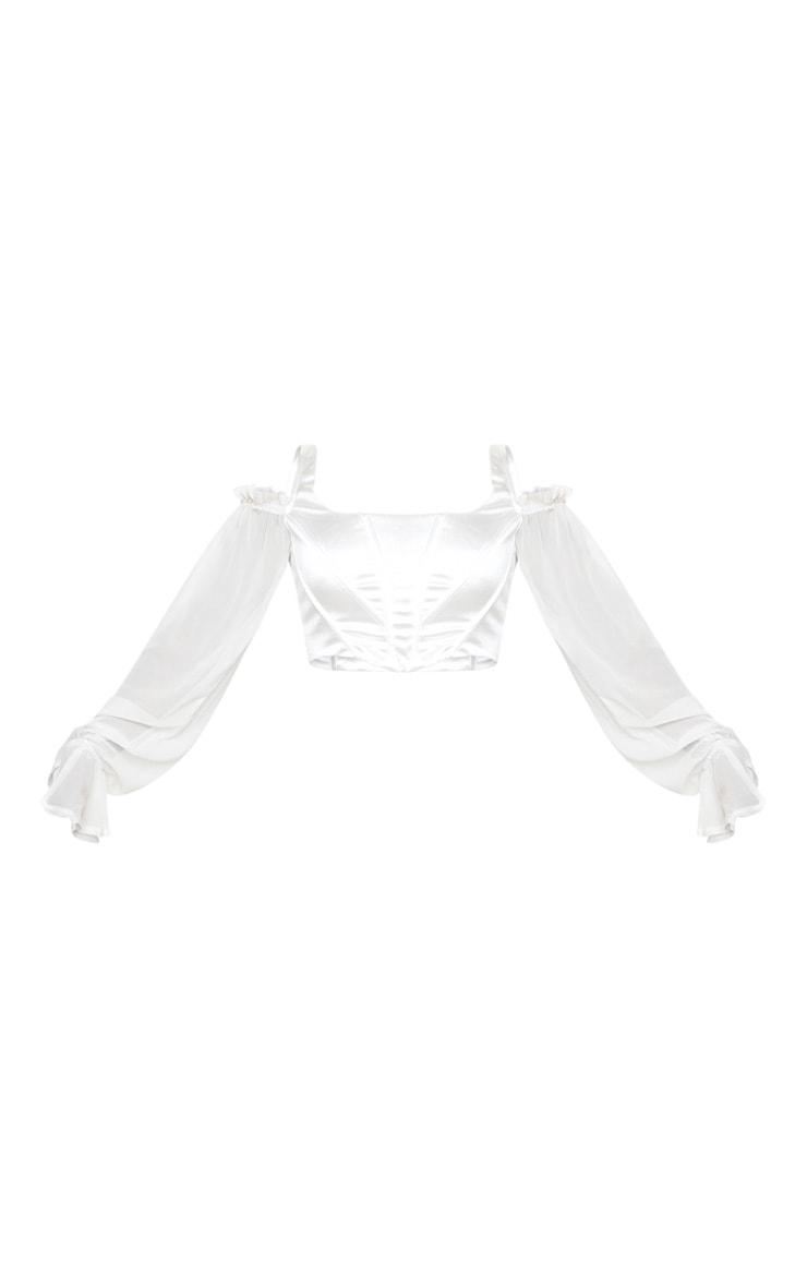 White Satin Cold Shoulder Chiffon Sleeve Boned Curved Hem Corset 5
