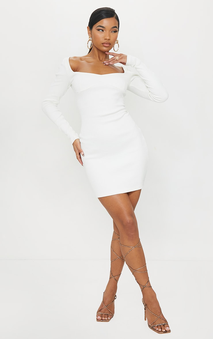 Cream Thick Rib Long Sleeve Sweetheart Neck Bodycon Dress 3