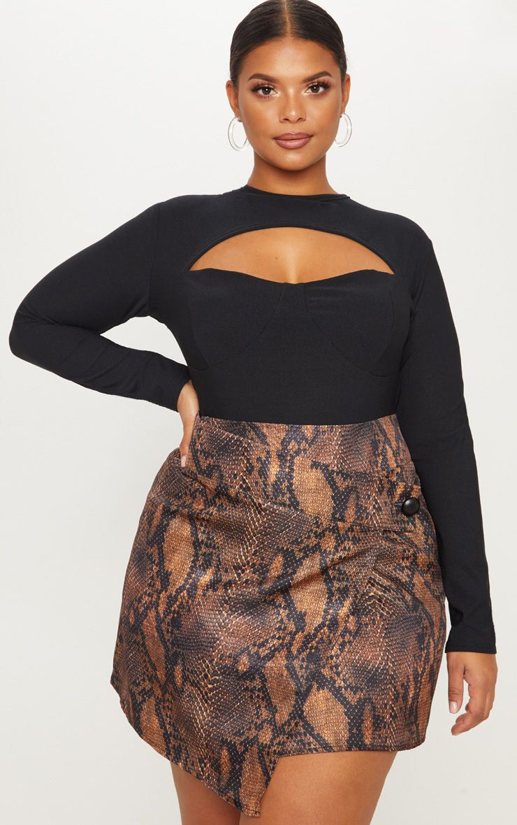 Plus Brown Snake Print Button Detail Wrap Mini Skirt 1