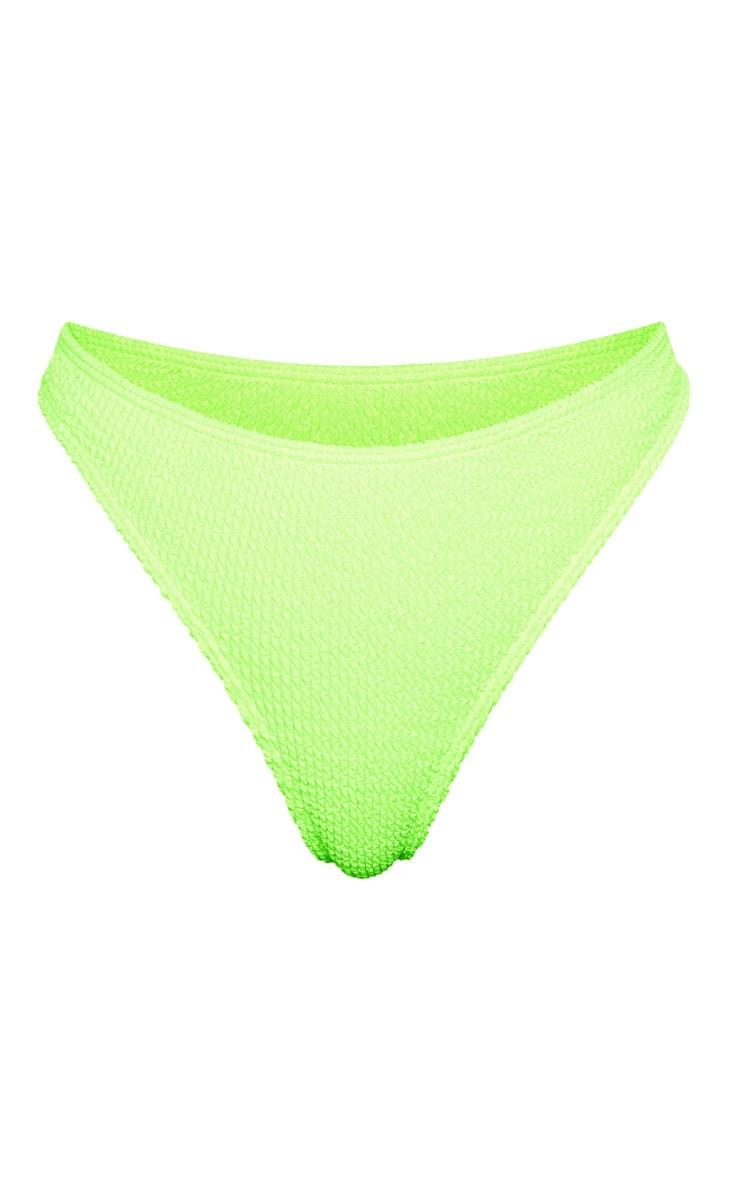 Neon Lime Crinkle Thong Bikini Bottom 6