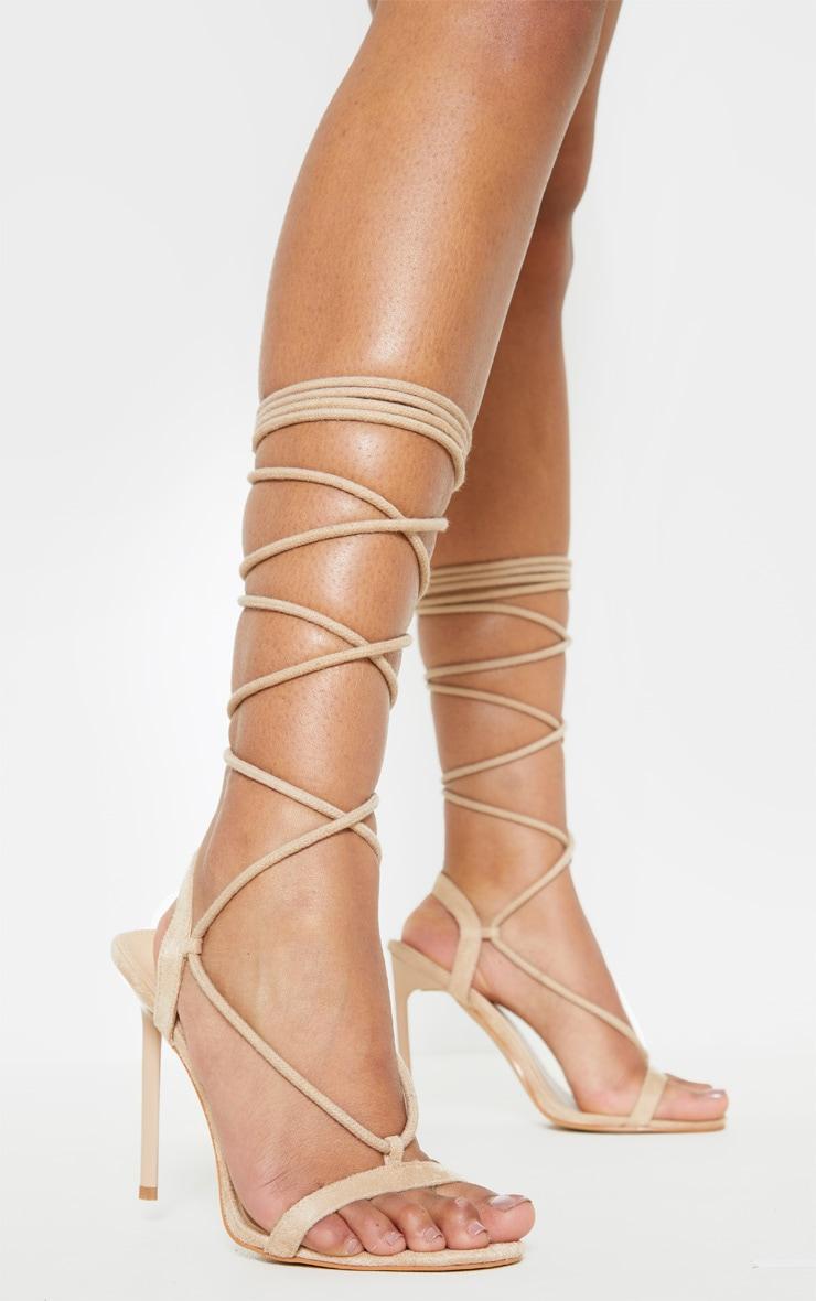 Nude Rope Ankle Tie Heeled Sandal 1